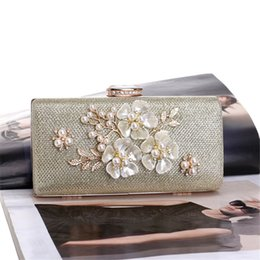 Imitation Hand Bags NZ - Handbag 2018 Female New Arrival Banquet Bag Bridal Hand Bags Dinner Party Single Shoulder Small Square Tweed Bag with Flowers Pearls