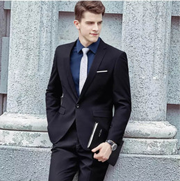 Best Suits Canada - DHL Free Handsome Custom Made Men Suits Black Slim Fit Formal Wedding Suits Business Suits Tuxedos Groomsmen Wear Prom Best Man Jacket+Pants