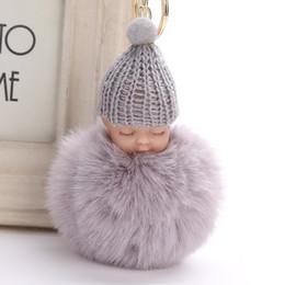 $enCountryForm.capitalKeyWord Australia - Sweet Fluffy Pompom Sleeping Baby Key Chain Faux Rabbit Fur Pom Pom Knitted Hat Baby Doll Keychain Car Keyring Toy Trendy Gifts H833Q F