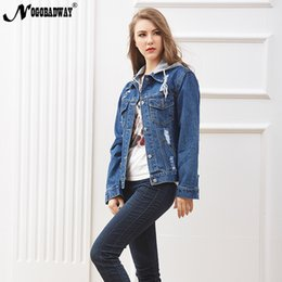 $enCountryForm.capitalKeyWord NZ - Removable hooded jean jacket autumn womens denim coat vintage casual outerwear loose BF winter spring hole short jeans jackets