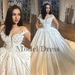 Sweethearts Ball Australia - Luxury Ball Gown Wedding Dresses Off the Shoulder Pearls Beading Sequined Crystals Satin Sweetheart Bridal Gowns for Church Arabic Dubai