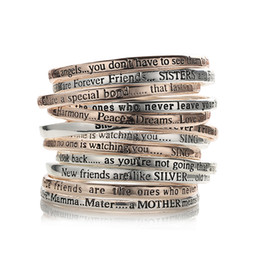 jewelry set letter 2019 - whole saleRandom delivery silver plated metal Letter words Inspirational Bangle Gift Jewelry Outside Inside Both Engrave