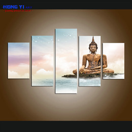 Discount large buddha canvas prints 5 Panel Large Modern Giclee Print Art Home Decor Print Painting Wall Art Buddha Statue Meditation picture on Canvas for