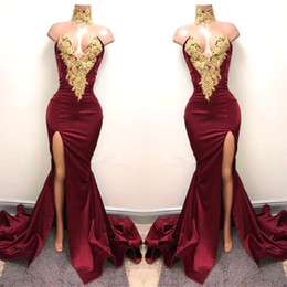 HigH neck embroidery designs online shopping - 2K19 New Design Sexy Burgundy Prom Dresses with Gold Lace Applique Mermaid Front Split Side Special Occasion Evening Party Gowns BA5998
