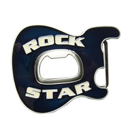 Discount belt buckle bottle opener New Vintage Blue Enamel Rock Music Star Guitar Belt Buckle With Beer Bottle Opener BUCKLE-MU102BL
