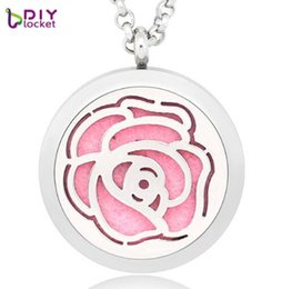 Discount white flower oil - 5pc lot diy Essential Oil Diffuser Necklace Rose Flower Perfume locket Necklace Stainless Steel Pendant Free Chain & Pad