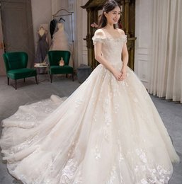 Images Brooch Flowers NZ - Customized Collection Embroidery Summer Lace Wedding Dress Bateau Tulle Princess Wedding Ball Gown Dress Floor-Length Flower Dress W05B