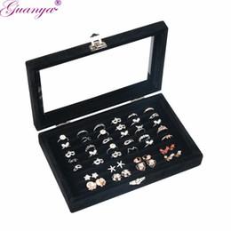 Ring Case Holder Displays Australia - Guanya Professional Jewelry Organizer Show Case Jewelry Display Rings Holder Box New Black Velvet Ear Pin Storage jewelry Box