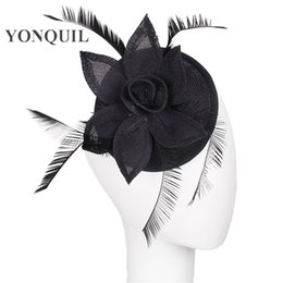 occasion hats UK - Black color High quatily women wedding Fascinator hat with feather Base DIY millinery party headwear ladies Occasion decorative headwear