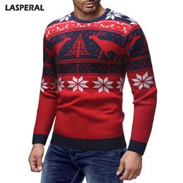 bc2ccf25bac9 LASPERAL Fashion Men Warm Sweaters Autumn And Winter Men Christmas Elk  Print O-neck Sweater Long Sleeve Slim Fit Knittwear Brand