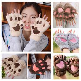 $enCountryForm.capitalKeyWord Australia - Fashion Women Warm Gloves Mittens Animal Cat bear Claw Ladies Plush Glove Short Fingerless Cute Winter Half Finger christmas