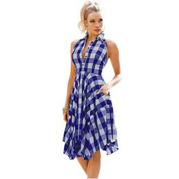 6 Photos Asymmetrical Shirt Dress UK - New 2018 Women Flared Plaid  Shirtdress Explosions Leisure Vintage Dresses Summer c39eece05d8c