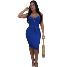 Women Off Shoulder Bodycon Midi Dress Stud Sleeveless Backless Slim Fit  Dress Belted Nightclub Party Pencil Dress 2019 Clubwear 4af2beb6077a