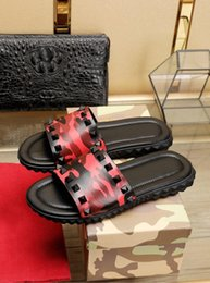 Fashionable low heels online shopping - The new appearance Simple and low key Joker style Red camouflage Men s slippers VValentino Fashionable men s shoes with comfortable