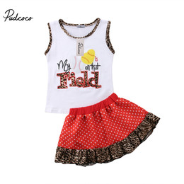 $enCountryForm.capitalKeyWord NZ - 2018 Brand New Toddelr Infant Child Kids Baby Girls Floral T-Shirts Vest Leopard Skirt 2Pcs Outfits Baseball Printed Set 1-6T