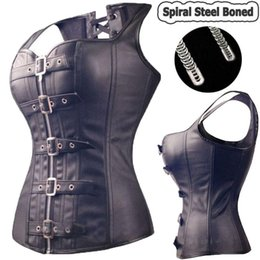 0b2469a333 Wholesale-Black Spiral Steel Boned Steampunk Overbust Corset Bustier Top  Dress SEXY G-string Lingerie Women Corsets Plus Size S-6XL