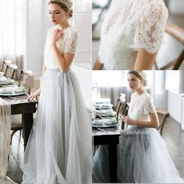 ab20fd99ccbc Cheap Country Style Bohemian Bridesmaid Dresses Top Lace Short Sleeves  Illusion Bodice Tulle Skirt Maid Of Honor Wedding Guest Party Gowns