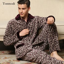 45bb634a4d Pajamas Men Winter Thickening Warm Pyjamas Mens Pajamas Coral velvet middle  aged father sleepwear Men lounge pajama Set