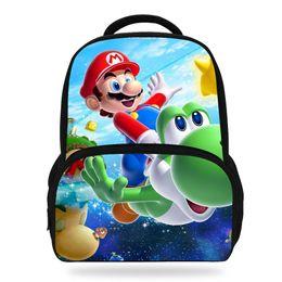 71fd37c9adb4 14Inch Fashion School Cartoon Backpack Bag For Kids Super Mario Backpack  For Children Boys Girls