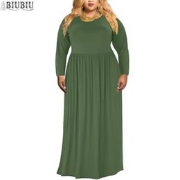 f2cdbcfda27 BIUBIU Femmes Plus La Taille Solide Maxi Dress Pleine Manche O Cou Casual  Robes De Soirée Autumu Taille Haute Femme Longue Robe De Fiesta