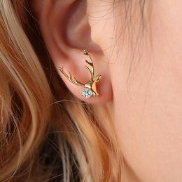 $enCountryForm.capitalKeyWord Australia - Christmas Deer Stud Earring For Women Rhinestone Silver Gold Reindeer Ear Studs Charm Gift Fashion Xmas Jewelry