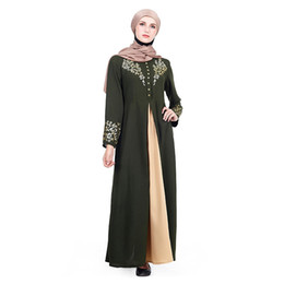 $enCountryForm.capitalKeyWord NZ - 10pcs Middle East Women Abaya Dubai Kaftan Muslim Flowers Hot Stamping Dress Islamic Female Clothing Turkish Robe Musulmane Dresses Free DHL