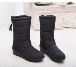 lady snow boots mid calf Australia - Winter Women Boots Female Down Boots Tassel Mid-Calf Ladies Shoes Woman Warm Fur Boots Mujer Elastic Free Shipping