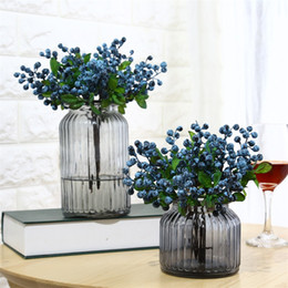 Wholesale Single Small California Berry Simulation Flower Berry Blueberry Fruit Fake Artificial Plant Living Room Decoration Plastic Manual yb bb