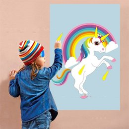 Kids birthday sticKers online shopping - Unicorn Horn Decal Rainbow Decoration Event Fun Kids Birthday Party Sticker Supplies Home Games Hot Sale ys V