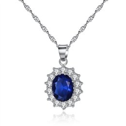 $enCountryForm.capitalKeyWord Australia - Korean blue gemstone necklace fashion women red ruby pendant locket necklace 18k white gold silver chain necklaces snap jewelry dropshipping