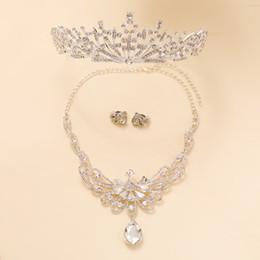 bride tiara jewelry sets 2019 - White Rhinestone Peacock Necklace Pendant Princess 3pcs set Wedding Bride Jewelry Sets Beads Tiara Crown Women Fashion E