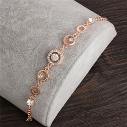 mexican gold chain prices 2019 - 18K Rose Gold Plated Chain Link Bracelet for Women Ladies Shining AAA Cubic Zircon Crystal Jewelry Gift Wholesale Price