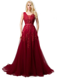 China 2019 Cheap Long Tulle Prom Dresses Deep V Neck Lace Appliques Low Back Corset Evening Dresses Formal Party Dress for Women Burgundy cheap pink pearl apples suppliers