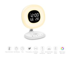 Discount lighting color temperature - Wireless Desktop Charger Time and Temperature Display RGB 7 Color LED Desk Lamp with Eye Care Light