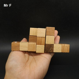 3d wooden cube NZ - Fun Christmas Gift Design IQ Brain Teaser Kong Ming Lock 3D Puzzle Wooden Cube Toy Kid