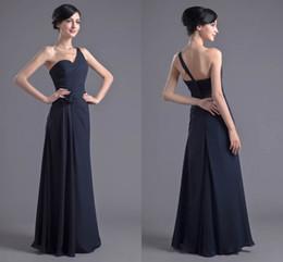 6ac1fa0d6422 2018 New One Shoulder Cheap Dark Navy Bridesmaid Dresses Chiffon Prom  Dresses Bridesmaid Maxi Skirt Evening Party Dresses
