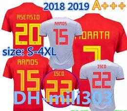 Discount uniform world - 2018 Spain Jersey home Away Soccer Jersey 18 19 world cup Spain soccer shirt new MORATA ISCO A.INIESTA ASENSIO Football