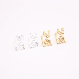 China Cute lovely cartoon animal stud earrings Long tail large-eyed cat gold stud earrings women romantic gifts supplier large gold studs suppliers