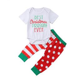 357608389edf 2Pcs Newborn Infant Baby Boy Girl Letter Short Sleeve Tops Romper Christmas  Long Dot Stripe Pants Outfit Boys Girls Clothes Set