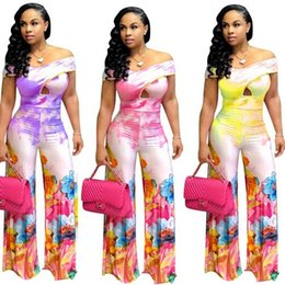 a71a3d3173d5 Tie Dye Floral Print Slash Neck Sexy Wide Leg Jumpsuit Summer Off Shoulder  Hollow Out Pants Rompers Women DW170