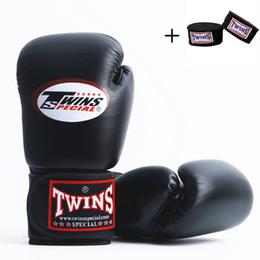 Discount kids kick boxing - 5color 8OZ 10OZ Twins MMA Boxing Gloves Men Women Adult Kids PU Leather Karate Mauy Kick Boxing Glove + Boxing Bandage