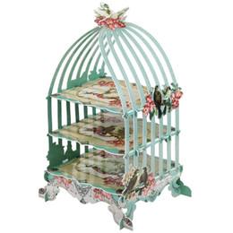 $enCountryForm.capitalKeyWord UK - European Style 3 Layers Birdcage Cupcake Cardboard Cake Stand Vintage Wedding Afternoon Tea Party Display Holder