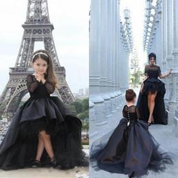mother daughter evening dresses Australia - Black High Low Girls Pageant Dresses Ball Gown Short Front Long Back Tulle Satin Long Sleeves Kids Evening Gowns Mother and Daughter Match