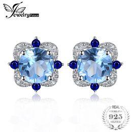 58f519b088af JewelryPalace Fashion Stud Pendientes 2.27ct Redondo Natural Sky Blue Topaz  Embutido Zafiro Plata de ley 925 Vintage Joyería Fina D1892005