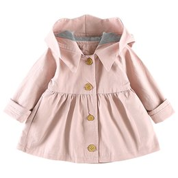 Discount jacket hat baby - Fashion Infant Toddler Outwears Magic Hat Girls Trench Coat Spring Children Clothing Kids Jackets Baby Girls Clothes
