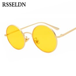 ddccb4f87e RSSELDN Round Sunglasses Women Retro Vintage Silver Gold Metal Frame Clear  Yellow Red Circular Sun glasses for Men UV400 Gafas