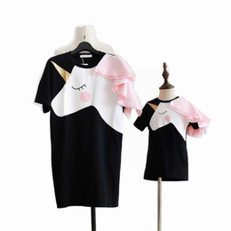 Chinese  Family Matching Outfits summer family Mother Daughter dress Unicorn Gold stamping printing dress free ship manufacturers