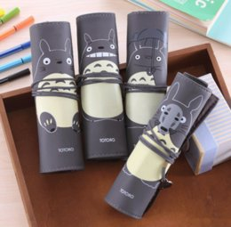 Roll Up Cosmetic Bags NZ - Creative Novelty Totoro Rolling Simple Vintage Bandage Pen Case Pencil Cosmetic Make Up Storage Bag 025