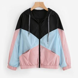 Discount patchwork women coat - 2018 New Arrival Women Polyester Long Sleeve Patchwork Hooded Zipper Pockets Casual Sport Coat For Daily Life High Quali