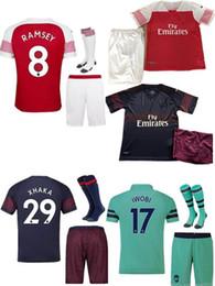 ADULTO KIT 18 19 arsenal camisa de futebol AUBAMEYANG LACAZETTE SHORTS PARTES home 10 OZIL MKHITARYAN 2018 XHAKA RAMSEY longe TERCEIRO camisas de futebol